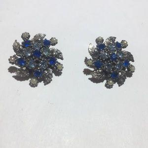 Vintage silver flower stone clip on earrings